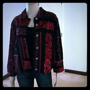 Chico's Red Velvet and Sequin Embroidered Blazer